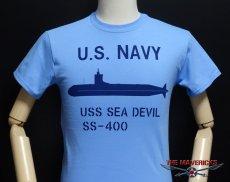 画像4: ミリタリーTシャツ メンズ 半袖 サブマリン NAVY 米海軍/ブルー (4)