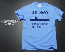 画像2: ミリタリーTシャツ メンズ 半袖 サブマリン NAVY 米海軍/ブルー (2)