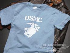 画像3: Tシャツ ミリタリー USMC 米海兵隊 マリンモデル MAVERICKS / 水色 ブルー (3)