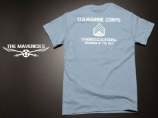 画像2: Tシャツ ミリタリー USMC 米海兵隊 マリンモデル MAVERICKS / 水色 ブルー (2)