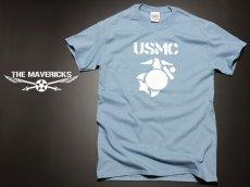 画像1: Tシャツ ミリタリー USMC 米海兵隊 マリンモデル MAVERICKS / 水色 ブルー (1)