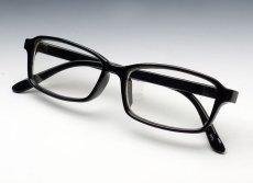 画像3: シンプル 細め スクエア タイプ 伊達メガネ / 黒 ブラック クリアー 新品 (3)