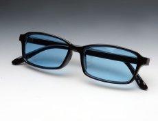画像2: シンプル 細め スクエア タイプ 伊達メガネ / 黒 ブラック ブルー 新品 (2)