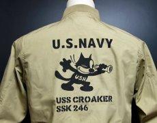 画像3: T/C素材 タンカースタイプの全天候型 NAVY ミリタリージャケット 米海軍 CROAKER 潜水艦 モデル ベージュ (3)