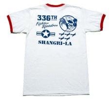 画像5: トリム Tシャツ 半袖 ミリタリー リンガー 第8空軍 シャングリラ モデル / 白 赤 (5)