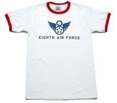 画像4: トリム Tシャツ 半袖 ミリタリー リンガー 第8空軍 シャングリラ モデル / 白 赤 (4)