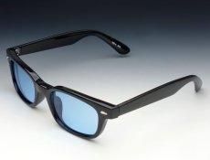 画像2: 送料無料 細デザイン ウェリントン型 サングラス メンズ 新品 / 黒 × ブルー (2)