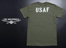 画像2: USAF エアフォース AIRFORCE Tシャツ メンズ 半袖 ミリタリー /オリーブドラブ (2)