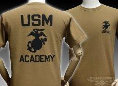 画像1: 極厚 スーパーヘビーウェイト ミリタリー Tシャツ USMA マリンアカデミー モデル / カーキーブラウン (1)
