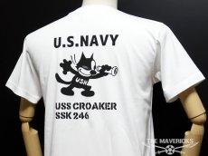 画像3: 極厚 スーパーヘビーウェイト ミリタリー Tシャツ 米海軍 黒猫 CROAKER / 白 ホワイト (3)
