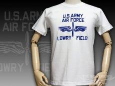 """画像1: 極厚 スーパーヘビーウェイト フロッキー Tシャツ LOWRY FIELD """"ARMYエアフォース米陸軍航空隊"""" / 白 ホワイト (1)"""