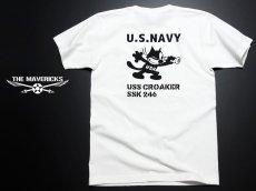 画像5: 極厚 スーパーヘビーウェイト ミリタリー Tシャツ 米海軍 黒猫 CROAKER / 白 ホワイト (5)