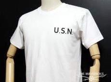 画像2: 極厚 スーパーヘビーウェイト ミリタリー Tシャツ 米海軍 黒猫 CROAKER / 白 ホワイト (2)
