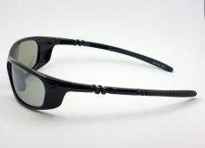 画像4: 軽量 19g 偏光レンズ スポーツ サングラス 黒 フラッシュミラー / ポラライズド (4)