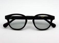 画像5: ボストン型 サングラス メンズ シンプル つや消し マットブラック ライトスモークレンズ (5)