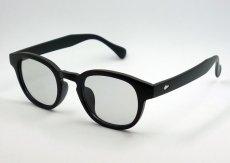 画像1: ボストン型 サングラス メンズ シンプル つや消し マットブラック ライトスモークレンズ (1)