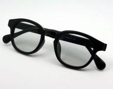 画像3: ボストン型 サングラス メンズ シンプル つや消し マットブラック ライトスモークレンズ (3)