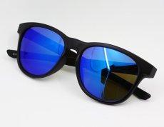 画像1: ブルーミラー サングラス マットブラック ウェリントン 黒 青ミラー 新品 (1)