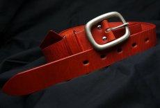 画像3: 日本製 ベルト 本革 フルベジタブルタンニングレザー メンズ 新品 / レッド 赤 (3)