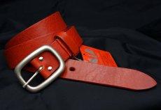画像2: 日本製 ベルト 本革 フルベジタブルタンニングレザー メンズ 新品 / レッド 赤 (2)
