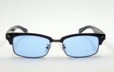 画像2: 細 サーモント型 サングラス セル メタル レトロデザイン 新品/ ブラック ブルー 黒 青 (2)