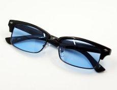 画像5: 細 サーモント型 サングラス セル メタル レトロデザイン 新品/ ブラック ブルー 黒 青 (5)