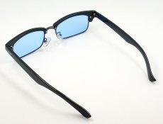 画像4: 細 サーモント型 サングラス セル メタル レトロデザイン 新品/ ブラック ブルー 黒 青 (4)