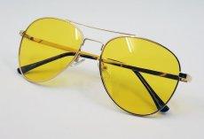 画像2: ティアドロップ メタル サングラス ブランド 名入れ前 モデル / イエローレンズ (2)