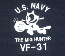 画像5: ミリタリー Tシャツ 米海軍 NAVY 黒猫 THE MAVERICKS 半袖 / ネイビー 紺 (5)