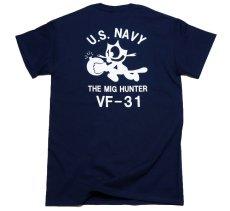 画像3: ミリタリー Tシャツ 米海軍 NAVY 黒猫 THE MAVERICKS 半袖 / ネイビー 紺 (3)