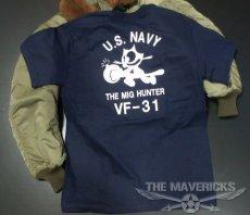 画像6: ミリタリー Tシャツ 米海軍 NAVY 黒猫 THE MAVERICKS 半袖 / ネイビー 紺 (6)