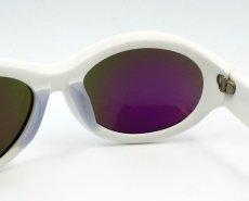 画像5: サングラス 白 メンズ レディース 日本製 鯖江 オーバル型 職人ハンドメイド デカ目 / ホワイト ブルーミラー (5)