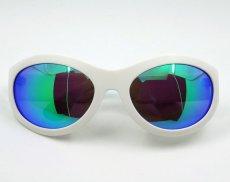 画像7: サングラス 白 メンズ レディース 日本製 鯖江 オーバル型 職人ハンドメイド デカ目 / ホワイト ブルーミラー (7)