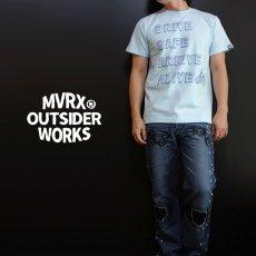 画像1: MVRX 半袖 Tシャツ DRIVE SAFE モデル / 水色 ライトブルー バイク プリント (1)