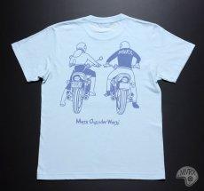 画像11: MVRX 半袖 Tシャツ DRIVE SAFE モデル / 水色 ライトブルー バイク プリント (11)