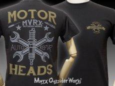 画像2: MVRX 半袖 Tシャツ MOTORHEADS モデル / スミ黒 ブラック バイク 車 プリント (2)