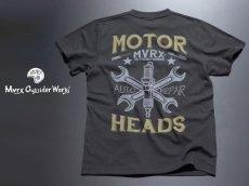 画像4: MVRX 半袖 Tシャツ MOTORHEADS モデル / スミ黒 ブラック バイク 車 プリント (4)