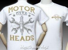画像2: MVRX 半袖 Tシャツ MOTORHEADS モデル / 白 ホワイト バイク 車 プリント (2)