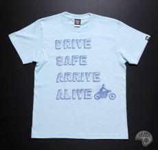 画像10: MVRX 半袖 Tシャツ DRIVE SAFE モデル / 水色 ライトブルー バイク プリント (10)