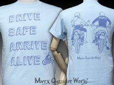 画像4: MVRX 半袖 Tシャツ DRIVE SAFE モデル / 水色 ライトブルー バイク プリント (4)