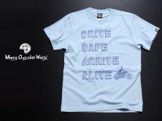 画像5: MVRX 半袖 Tシャツ DRIVE SAFE モデル / 水色 ライトブルー バイク プリント (5)