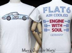 画像2: MVRX 半袖 Tシャツ FLAT6 モデル / 白 ホワイト 車 エンジン プリント (2)