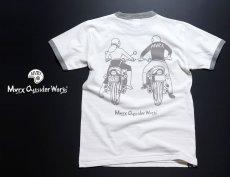 画像5: MVRX 半袖 リンガーTシャツ DRIVE SAFE モデル / 白 グレー バイク プリント (5)