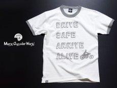 画像4: MVRX 半袖 リンガーTシャツ DRIVE SAFE モデル / 白 グレー バイク プリント (4)