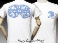 画像3: MVRX 半袖 Tシャツ  GOGGLE モデル / 白 ホワイト バイク ゴーグル プリント (3)