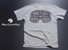 画像5: MVRX 半袖 ヘンリーネックTシャツ GOGGLE モデル / 杢グレー バイク ゴーグル プリント (5)