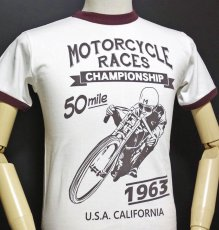 画像6: MVRX 半袖 リンガー Tシャツ MOTORCYCLE RACE モデル / 白 ホワイト バーガンディ (6)