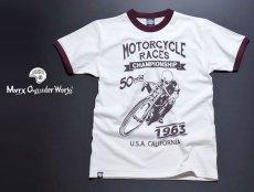画像3: MVRX 半袖 リンガー Tシャツ MOTORCYCLE RACE モデル / 白 ホワイト バーガンディ (3)