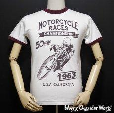 画像2: MVRX 半袖 リンガー Tシャツ MOTORCYCLE RACE モデル / 白 ホワイト バーガンディ (2)
