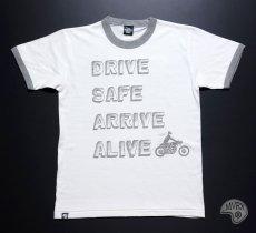 画像10: MVRX 半袖 リンガーTシャツ DRIVE SAFE モデル / 白 グレー バイク プリント (10)
